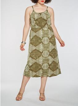 Plus Size Printed Midi Dress - 1390038348997