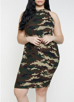 Plus Size Camo High Neck Tank Dress - 1390038349037