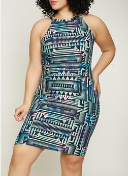 Plus Size Printed High Neck Dress - 1390038349039