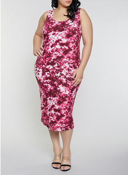Plus Size Tie Dye Tank Dress - 1390038349040