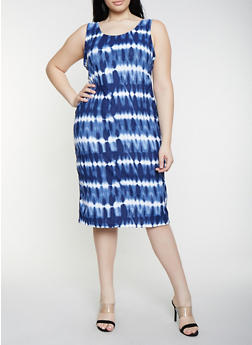 Plus Size Tie Dye Soft Knit Dress - 1390038349041