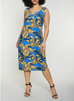 Plus Size Leaf Print Tank Dress - 1390038349043