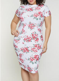 Plus Size Floral Mock Neck Dress - 1390038349048