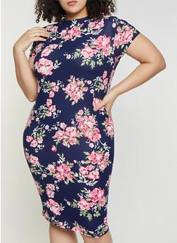 Plus Size Floral Mock Neck Dress - 1390038349048