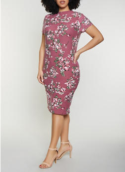 Plus Size Floral Mock Neck Midi Dress - 1390038349048
