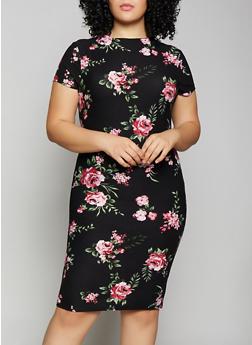 Plus Size Floral Mock Neck Dress - 1390038349049