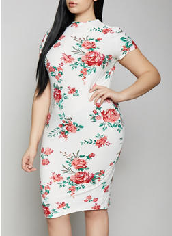 Plus Size Floral Mock Neck Dress - 1390038349049