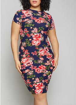 Plus Size Floral Bodycon Dress - 1390038349051