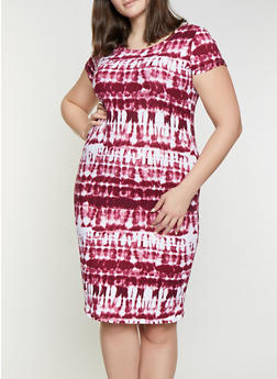 Plus Size Tie Dye T Shirt Dress - 1390038349060