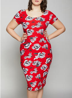 Plus Size Floral Midi Dress - 1390038349061