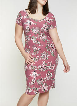 Plus Size Floral Bodycon Dress | 1390038349062 - 1390038349062