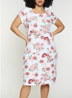 Plus Size Floral Scoop Neck Bodycon Dress - 1390038349063