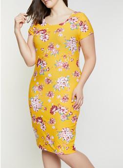 Plus Size Floral Scoop Neck Bodycon Dress - 1390038349063