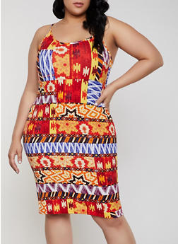 Plus Size Aztec Print Cami Dress - 1390038349066