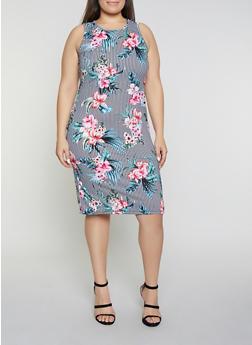 Plus Size Floral Striped Midi Tank Dress - 1390038349074