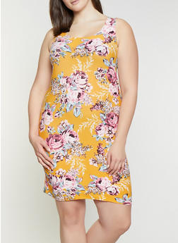 Plus Size Floral Scoop Neck Tank Dress - 1390038349086