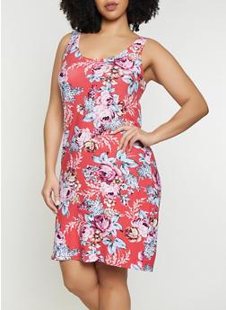 Plus Size Floral Scoop Neck Tank Dress - 1390038349086