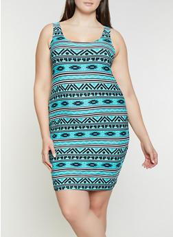 Aztec Print Womens Plus Size Dress