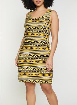 Plus Size Pastel Aztec Print Tank Dress - 1390038349087