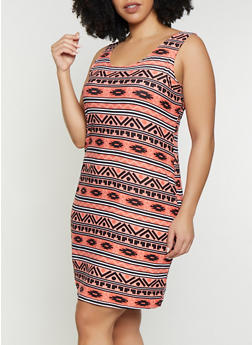 Plus Size Pastel Aztec Print Tank Dress - 1390038349087