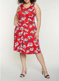 Plus Size Sleeveless Floral Swing Dress with Necklace - 1390038349450