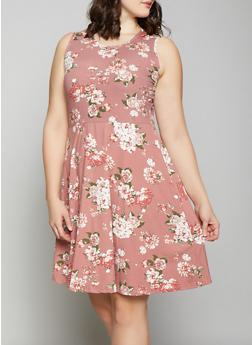 Plus Size Floral Skater Dress - 1390038349451