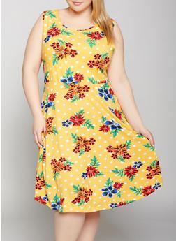 Plus Size Printed Soft Knit Skater Dress - 1390038349452