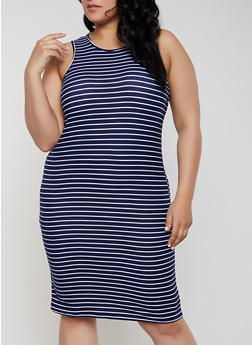 Plus Size Sleeveless Soft Knit Striped Dress - 1390038349456