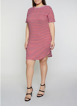 Plus Size Striped T Shirt Dress - 1390038349461