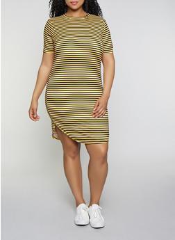 Plus Size Striped T Shirt Dress - 1390038349461