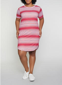 Plus Size Striped T Shirt Dress | 1390038349463 - 1390038349463