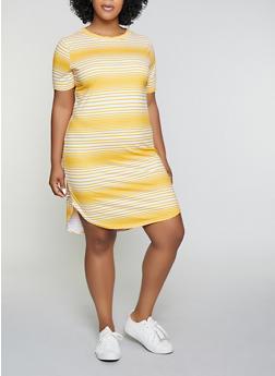 Plus Size Striped T Shirt Dress   1390038349463 - 1390038349463