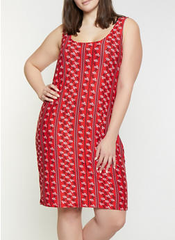 Plus Size Border Print Tank Dress - 1390038349467