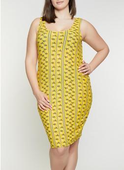 Plus Size Border Print Tank Dress - 1390038349467