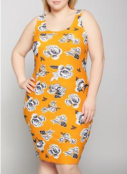 Plus Size Floral Tank Dress - 1390038349468
