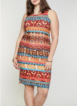 Plus Size Aztec Print Tank Dress - 1390038349486