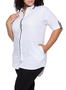 Plus Size Tape Trim High Low Shirt - 1390038349562