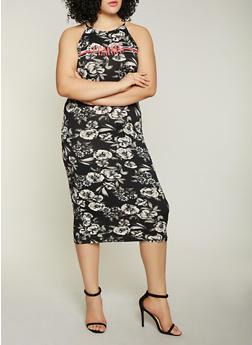 Plus Size Femme Graphic Printed Tank Dress - BLACK/WHITE - 1390038349615