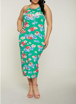 Plus Size Femme Graphic Printed Tank Dress - KELLY GREEN - 1390038349615