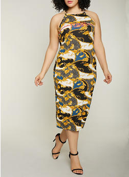 Plus Size Femme Graphic Printed Tank Dress - GOLD - 1390038349615