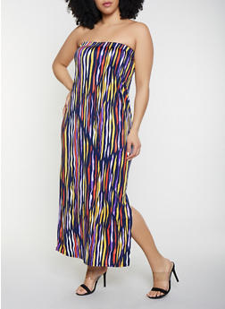 Plus Size Tiger Print Tube Maxi Dress - 1390038349669