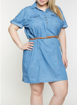 Plus Size Belted Denim Dress - 1390038349712