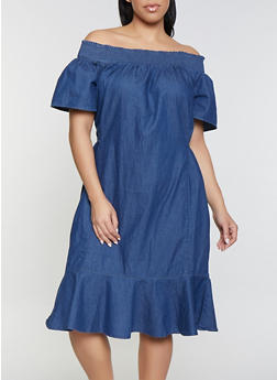 Plus Size Denim Off the Shoulder Dress - 1390038349714