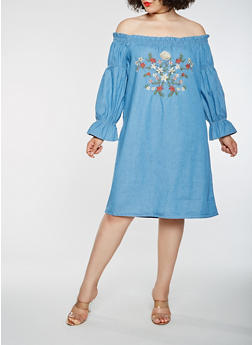 Plus Size Embroidered Off the Shoulder Chambray Dress - 1390038349717