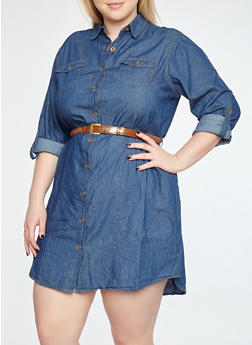 Plus Size Button Front Belted Denim Dress - 1390038349721