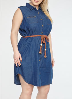 Plus Size Braided Belt Denim Dress - DARK WASH - 1390038349722