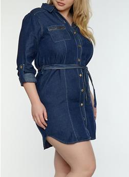 Plus Size Button Front Denim Dress - DARK WASH - 1390038349723