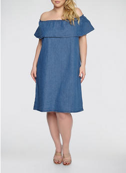 Plus Size Off the Shoulder Denim Dress - 1390038349736