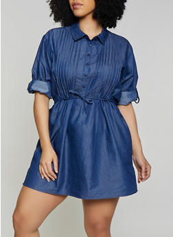Plus Size Pleated Denim Shirt Dress - Blue - Size 2X - 1390038349739