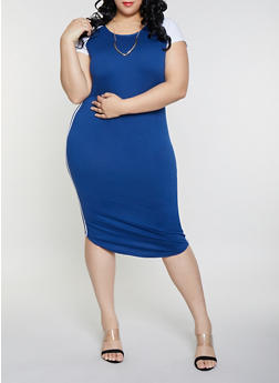 Plus Size Color Block T Shirt Dress with Necklace - 1390038349802
